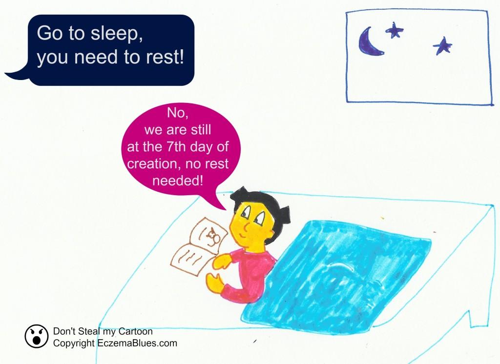 Sleep Rest Eczema Creation cartoon