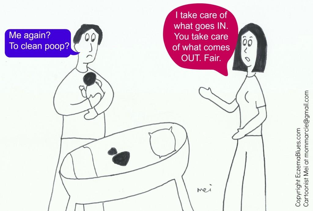 Mom NeedyZz cartoon on Fair Parental Baby Care EczemaBlues