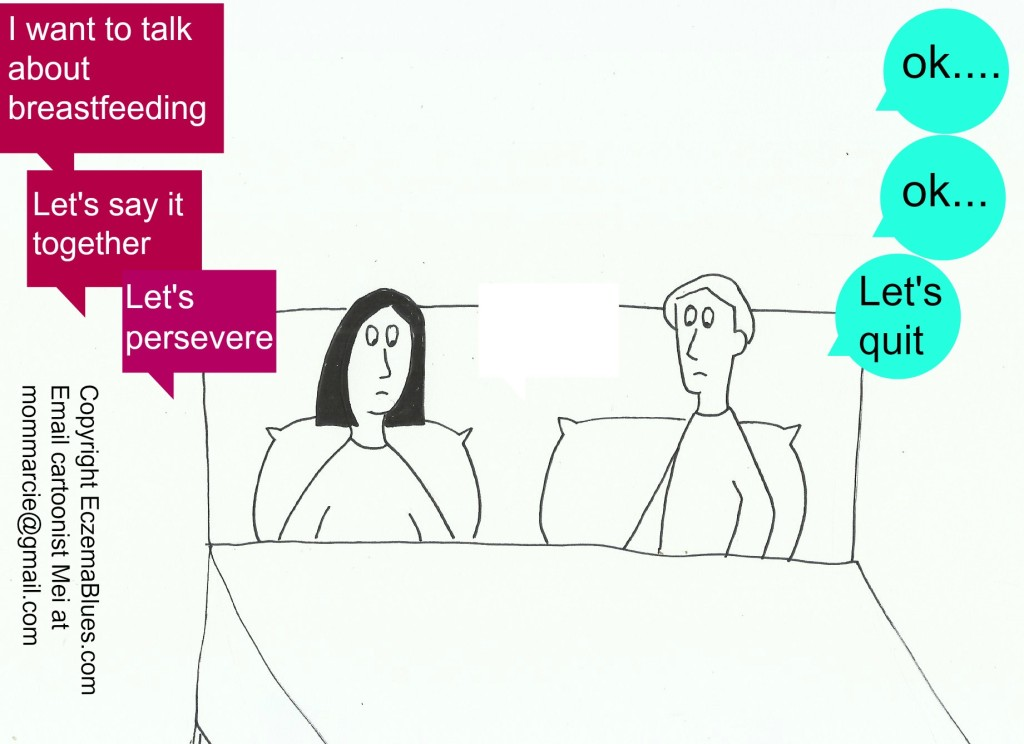 Mom NeedyZz Cartoon Couple talk on Breastfeeding