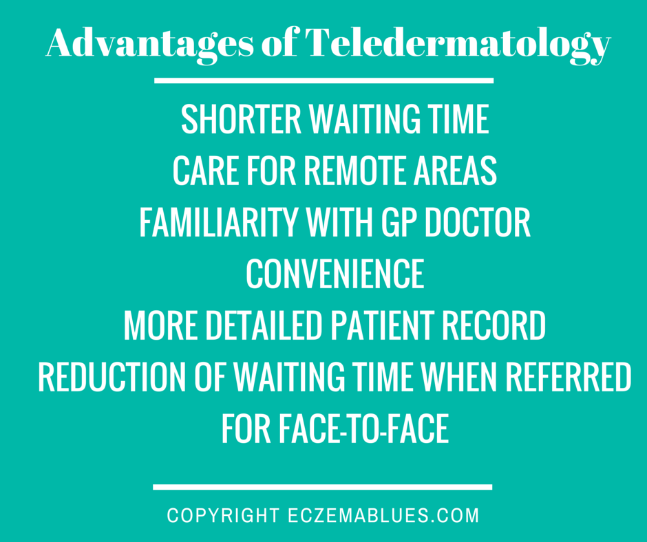 Many advantages of teledermatology but the set-up at both doctors' clinics have to support it